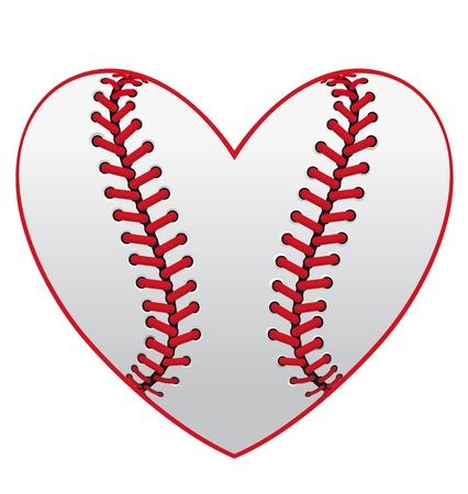softbol: Béisbol pelota de cuero, como un corazón para el diseño del emblema del deporte