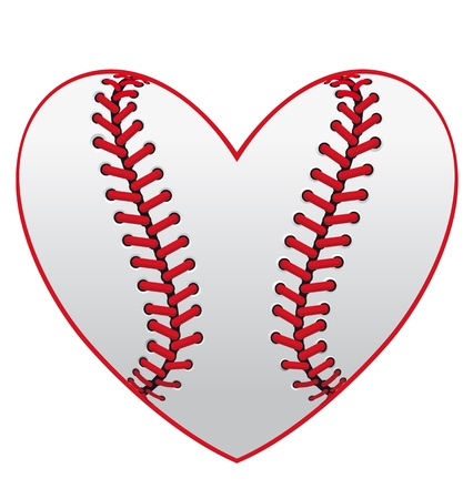 softball: Baseball leather ball as a heart for sport emblem design
