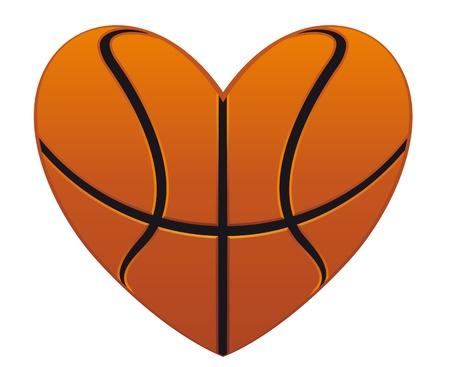 ballon basketball: Coeur de basket-ball r�aliste isol� sur fond blanc pour la conception de sport