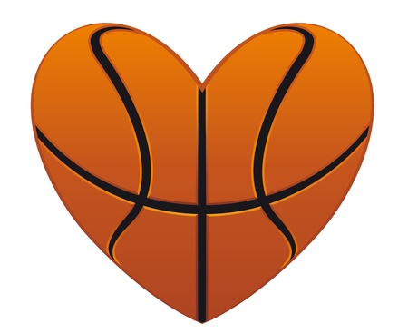 basketball tournaments: Realistic basketball heart isolated on white background for sports design