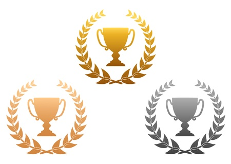 award trophy: Golden, silver and bronze awards with laurel wreath for sports design