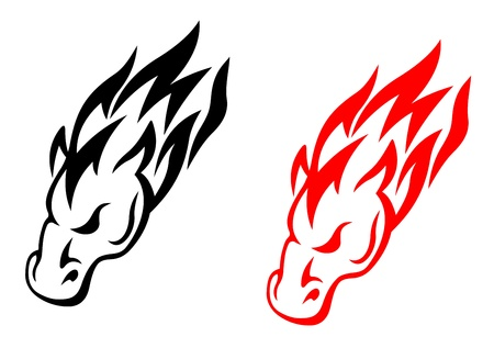 Tribal horse head in red and black versions for tattoo design Vector