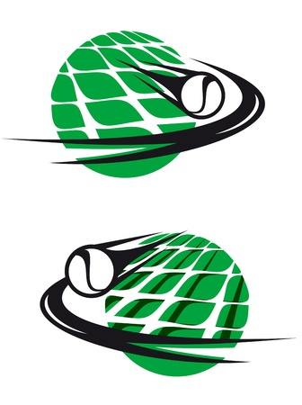 raqueta de tenis: Los elementos deportivos de tenis y símbolos para el diseño de la competencia Vectores