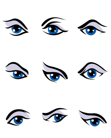 Human eyes set isolated on white background for vision concept design Vector