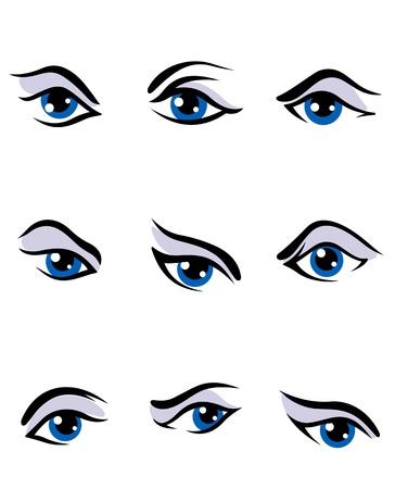 eyes: Menselijke ogen set geà ¯ soleerd op witte achtergrond voor visie conceptontwerp