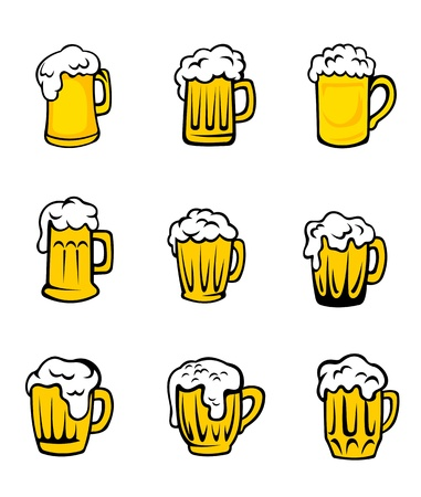 Set of beer glasses with fresh foam for pub design Vector