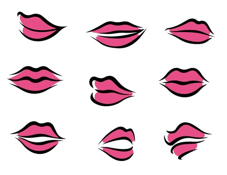 nude pretty girl: Set of woman lips in cartoon style for fashion and beauty design