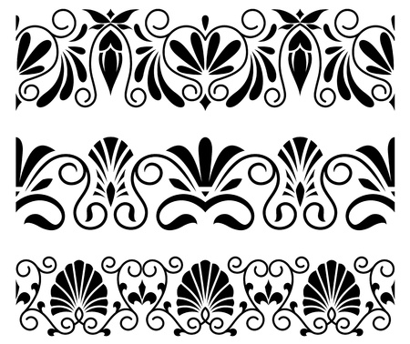 scroll tracery: Floral ornaments and embellishments in vintage greek style
