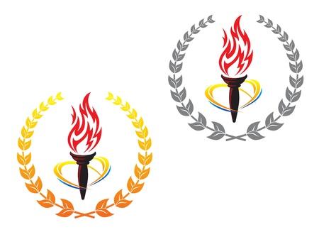 freedom logo: Antorchas de fuego en el laurel coronas para el dise�o de la paz concepto Vectores