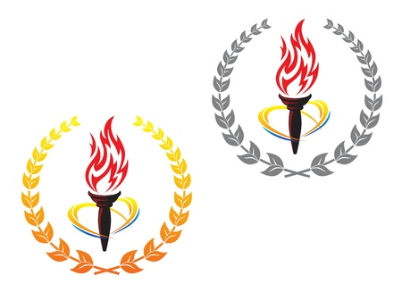 torches: Flaming torches in laurel wreathes for peace concept design