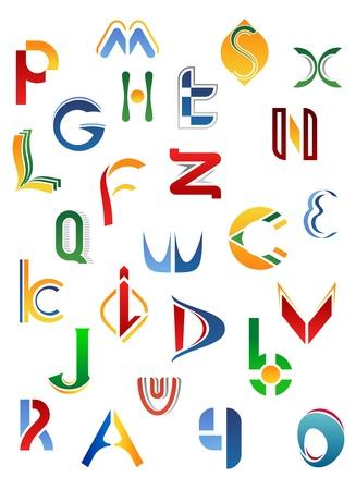 alphabetical letters: Las letras del alfabeto y los iconos aislados sobre fondo blanco de la A a la Z Vectores