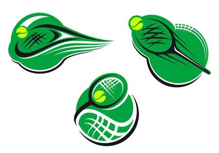 tennis: Tennis et les sports ic�nes et de symboles avec des paquets et boule