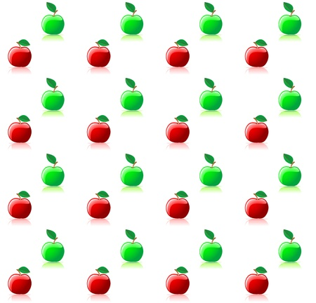 solated: Seamless background with green and red apples for food industry design