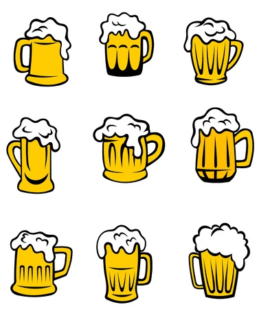 foam party: Set of beer glasses for alcohol berage design Illustration