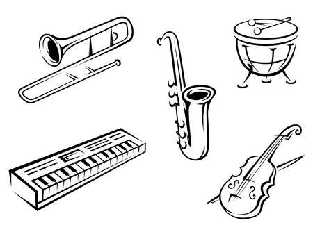 instrumentos musicales: Conjunto de instrumentos musicales en el estilo de la silueta para el dise�o de entretenimiento Vectores