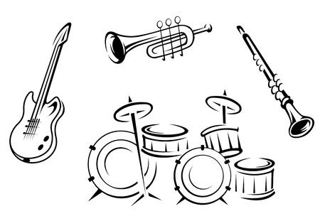 flauta: Conjunto de instrumentos musicales en estilo retro aislado sobre fondo blanco
