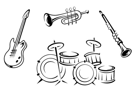 bass drum: Set of musical instruments in retro style isolated on white background