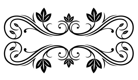 scroll tracery: Floral frame in retro style isolated on white background