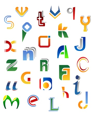 Set of full alphabet symbols from A to Z isolated on white background Vector