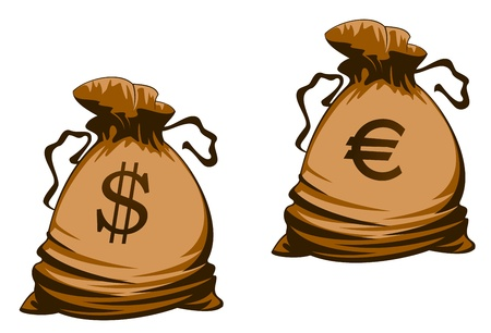 lucky bag: Vintage brown money bags with euro and dollar signs