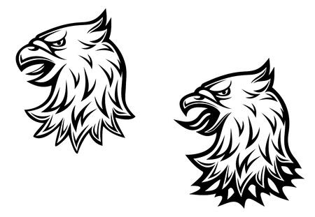 adler silhouette: Wappenadler Kopf auf zwei Varianten für mittelalterliche Konzeption Illustration