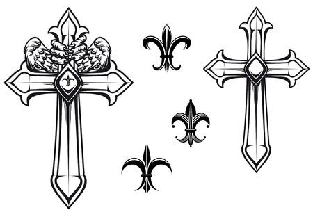 cruz religiosa: Cruz de piedra vintage con elementos heráldicos para el diseño Vectores