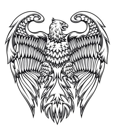 orzeł: Potężny orzeł lub gryf w stylu heraldycznego Ilustracja