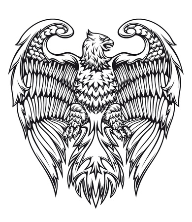 Powerful eagle or griffin in heraldic style Illustration