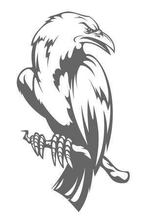 blackbird: Dark raven on the branch in cartoon style