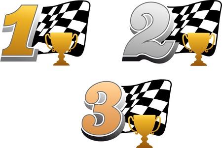 bandera carrera: La bandera a cuadros con el trofeo de carreras y de oro, plata y bronce, números de Vectores