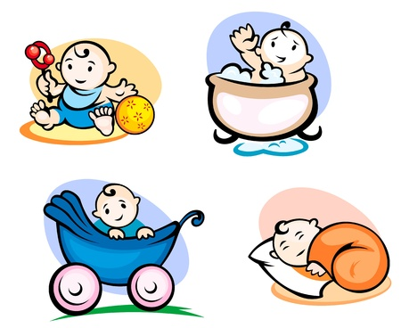 comic baby: Litlle childs in cartoon style sleeping, washing and playing with toys Illustration