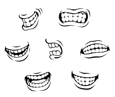 lips smile: Smiling and angry cartoon teeth isolated on white background