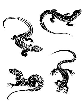 Lagartos rápidos en color negro y el estilo tribal para el diseño del tatuaje Ilustración de vector