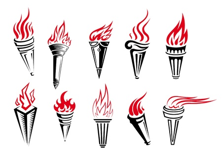 Set of burning torches with fire flames isolated on white background in retro style Vector
