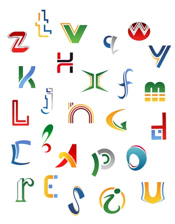 letter m: Set of symbols, letters and icons for alphabet design Illustration