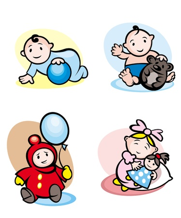 Cartoon girls and boys smiling and playing with toys Vector
