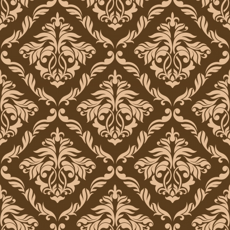 Retro brown seamless background with floral elements Vector