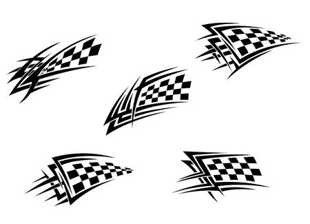 cuadros blanco y negro: Racing de banderas en el estilo tribal para el diseño del tatuaje Vectores