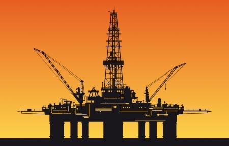 工業デザインの海で石油デリック  イラスト・ベクター素材