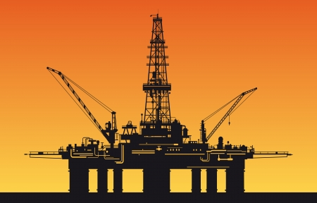 drilling machine: Oil derrick in sea for industrial design