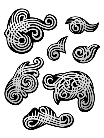 celtic design: Set of tribal ornaments and embellishments for design