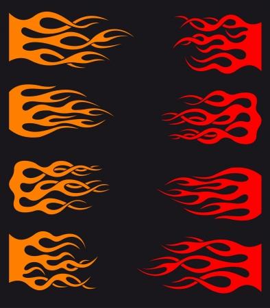 flammes: Jeu de flammes orange et rouge pour le tatouage tribal et le design entrelacs