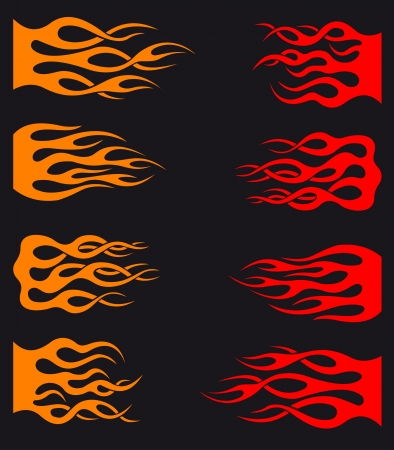 Set of orange and red tribal flames for tattoo and tracery design Illustration
