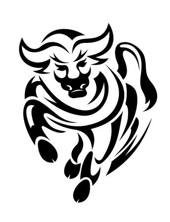 w�tend: Black Bull in Tribal Style f�r Maskottchen oder Tattoo-Design