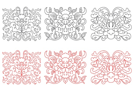 Floral embellishments in retro oriental style for ornate and decorations Stock Vector - 14265593