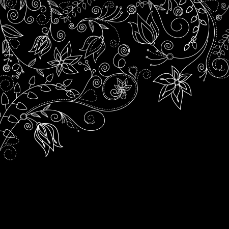 floral scroll: Monochrome floral background with white flowers for textile design Illustration