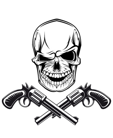 Smiling skull with revolvers for tattoo design Vector