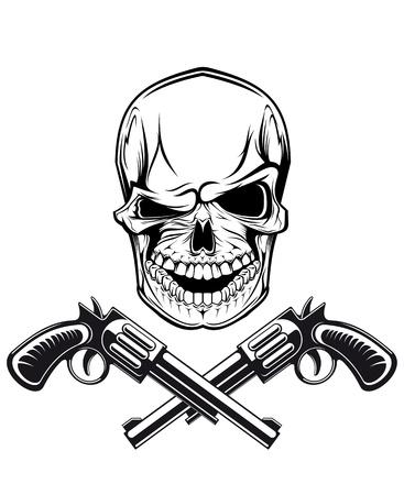 calavera pirata: Sonriendo cráneo con revólveres para el diseño del tatuaje Vectores