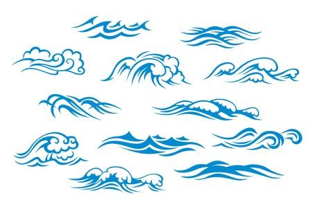 물결: 바다와 바다 파도에 격리 된 흰색 배경을 설정합니다