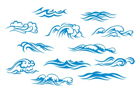 Ocean and sea waves set isolated on white background Vector